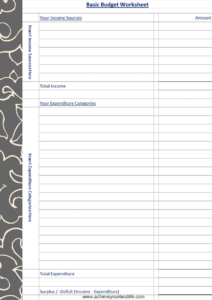 Basic budget worksheet